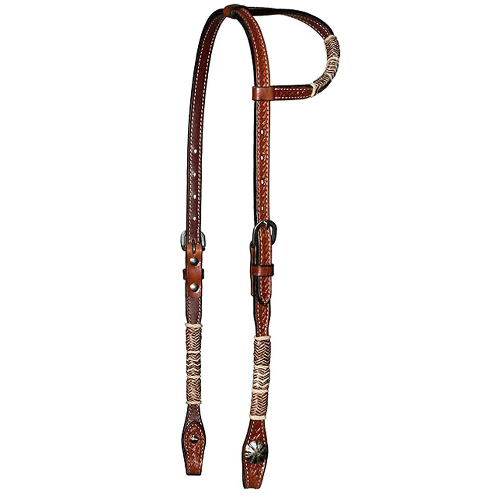 CIRCLE Y 5/8� BASKETWEAVE TOOLED WITH RAWHIDE ONE EAR HEADSTALL