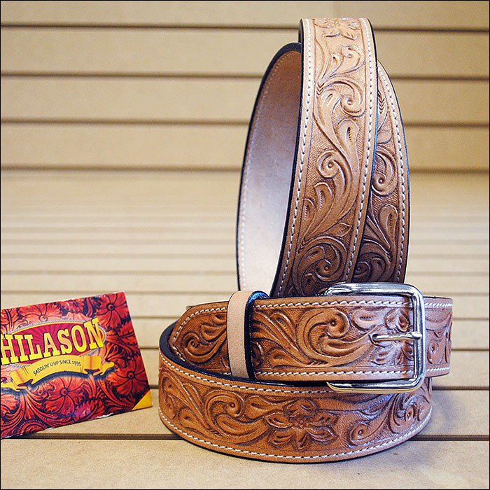 WESTERN TOUGH WORKING LEATHER MEN'S WORK HAND CARVED MADE GUN HOLSTER BELT