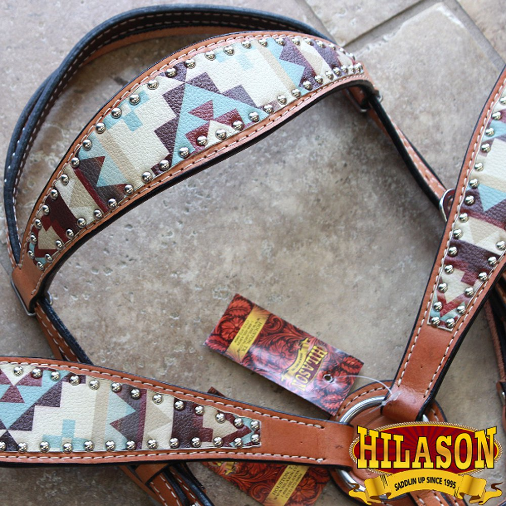 HILASON WESTERN LEATHER HORSE BRIDLE HEADSTALL BREAST COLLAR AZTEC PAINTED