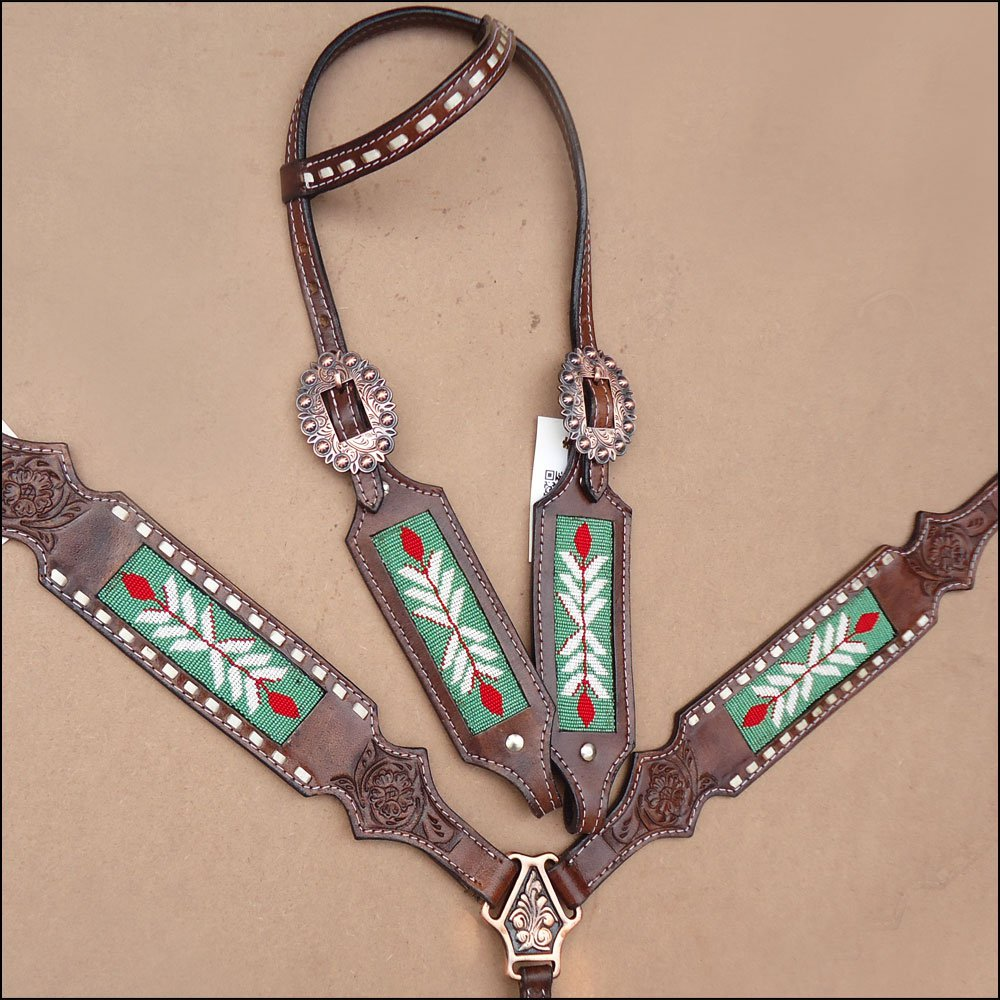 WESTERN LEATHER HORSE BRIDLE HEADSTALL BREAST COLLAR BROWN GREEN BEADED INLAY