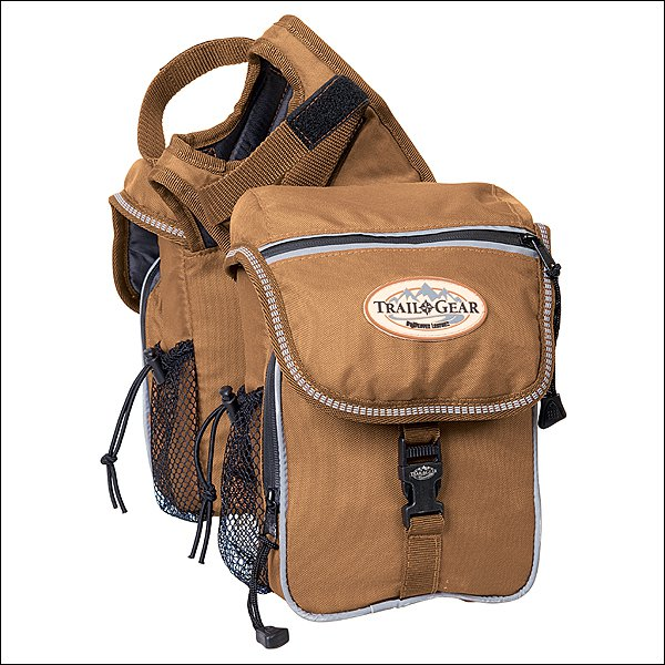 BROWN WEAVER WESTERN HORSE SADDLE HORN 600D POLYESTER TRAIL GEAR POMMEL BAGS