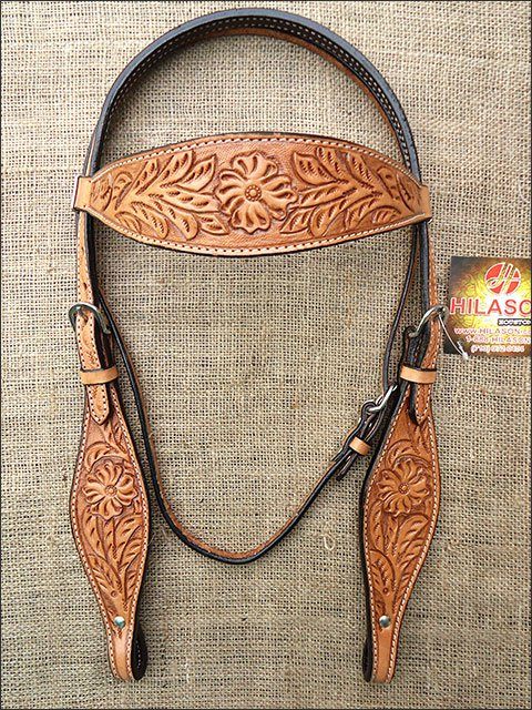 S42 HILASON WESTERN HAND TOOL FLORAL LEATHER HORSE BRIDLE HEADSTALL - LIGHT OIL