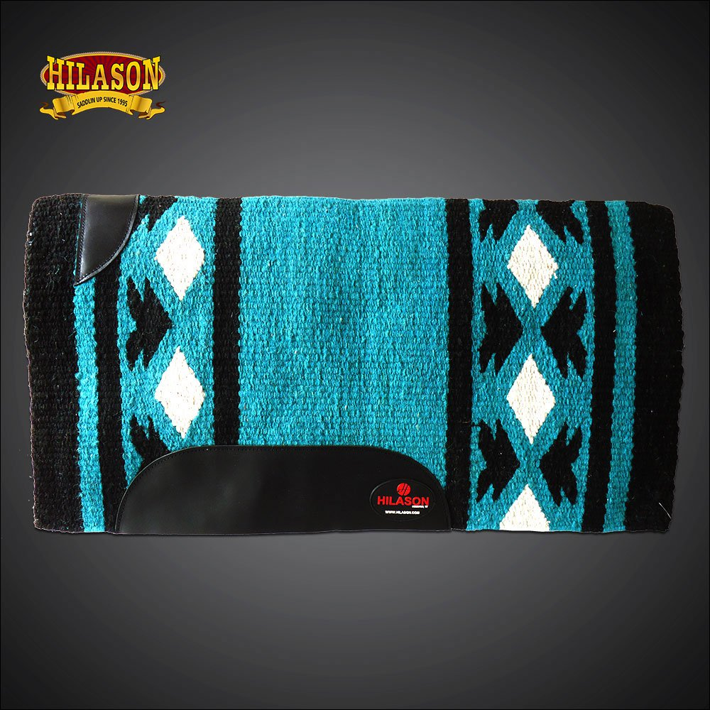 FE333-F HILASON WESTERN NEW ZEALAND WOOL HORSE SADDLE BLANKET WHITE BLACK TEAL