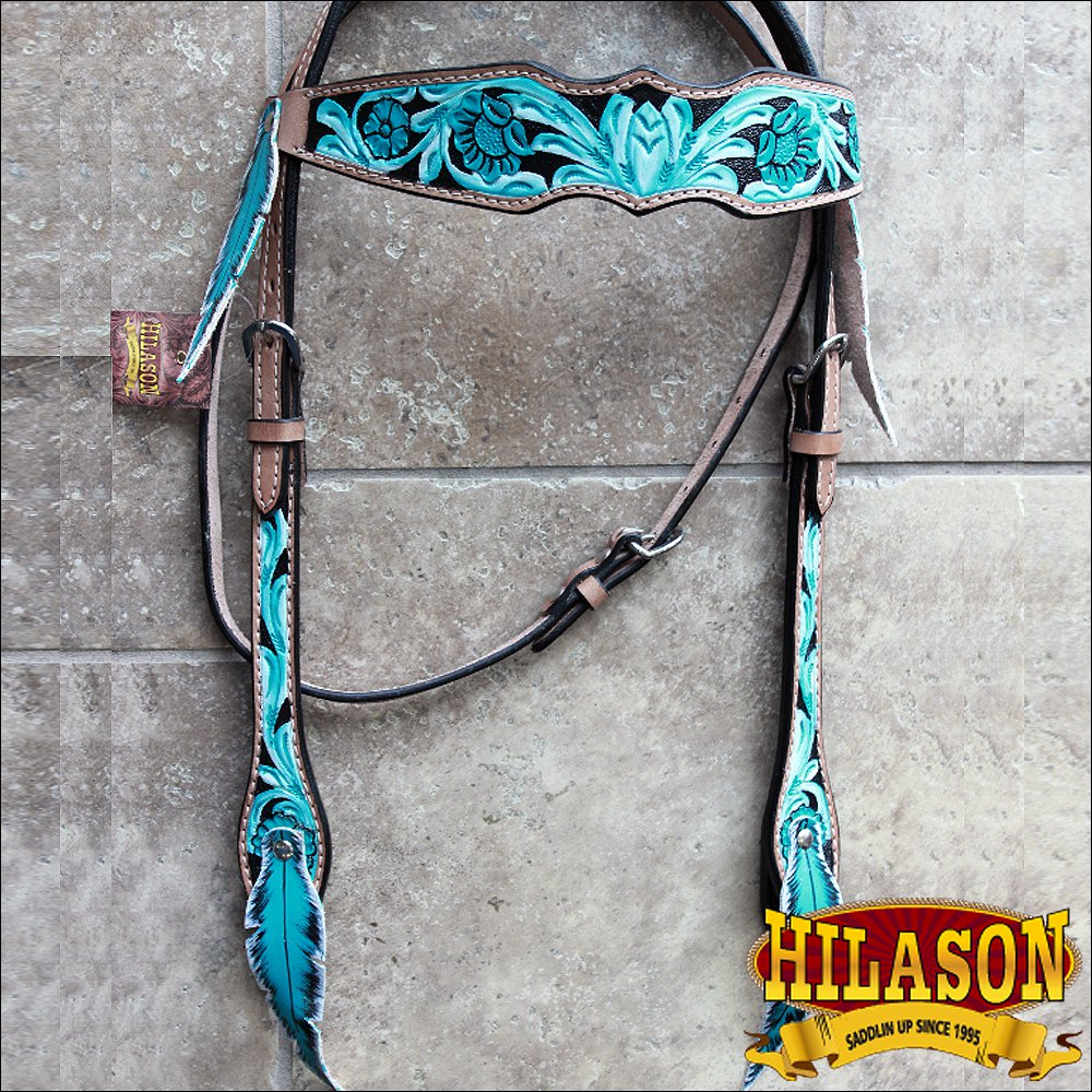 HILASON WESTERN LEATHER HORSE BRIDLE HEADSTALL FEATHER FRINGES TURQUOISE