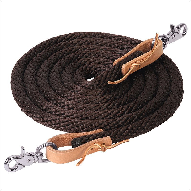 BROWN WEAVER 10 FT POLY ROPER TACK HORSE REIN BROWN LEATHER WATER LOOP ENDS