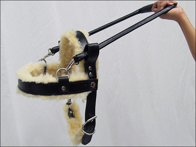 GH106-F HILASON BLACK GENUINE LEATHER LARGE ASSISTANCE DOG HARNESS WITH HANDLE