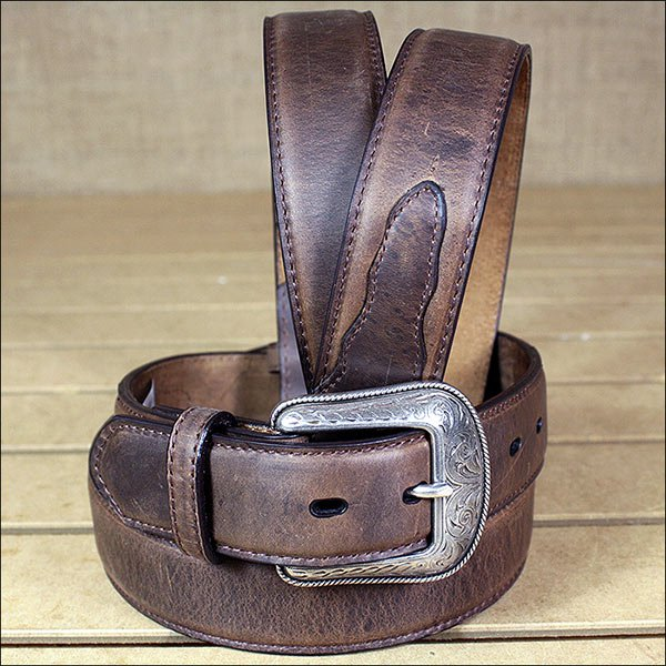 CRAZY CORRECT BROWN MEN'S WESTERN BASIC LEATHER BELT