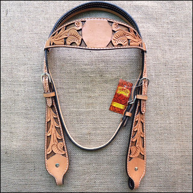 HILASON WESTERN LEATHER HORSE BRIDLE HEADSTALL HAND FLORAL CARVED TAN