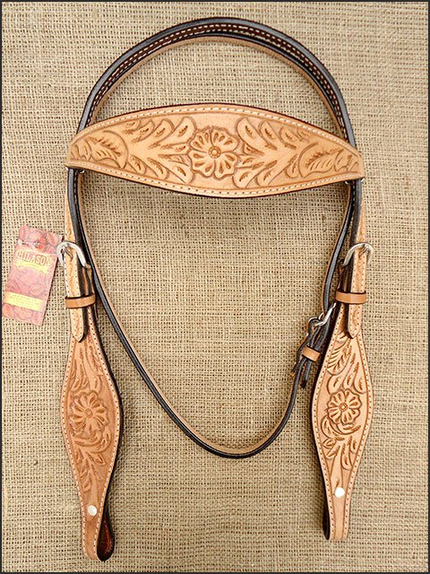 NEW HILASON WESTERN HAND TOOL LEATHER HORSE BRIDLE HEADSTALL TAN