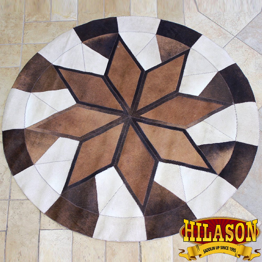 HS1144-F HILASON PURE BRAZILIAN COWHIDE HAIR ON LEATHER PATCHWORK 3D ROUND RUG