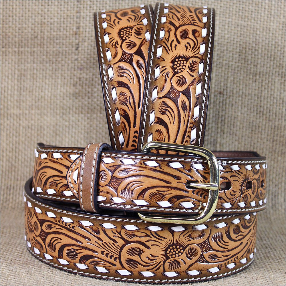 """36 X 1 3/4"""" 3D NATURAL MENS WHITE STITCH FLORAL WESTERN FASHION LEATHER BELT"""