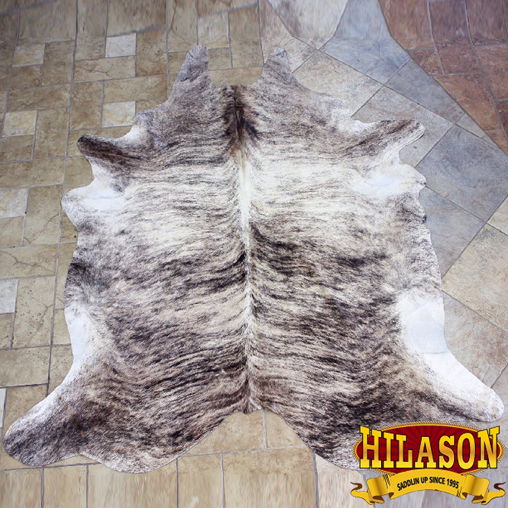 HS1176-F HILASON HAIR ON LEATHER PURE BRAZILIAN COWHIDE SKIN RUG CARPET NATURAL