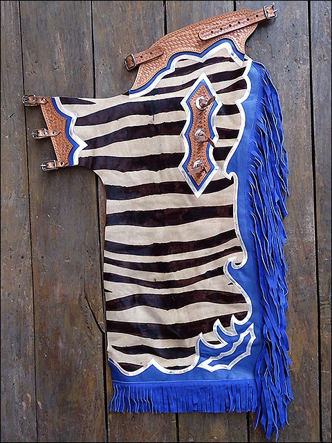 CH135F- HILASON BULL RIDING ZEBRA HAIR ON LEATHER PRO RODEO CHAPS