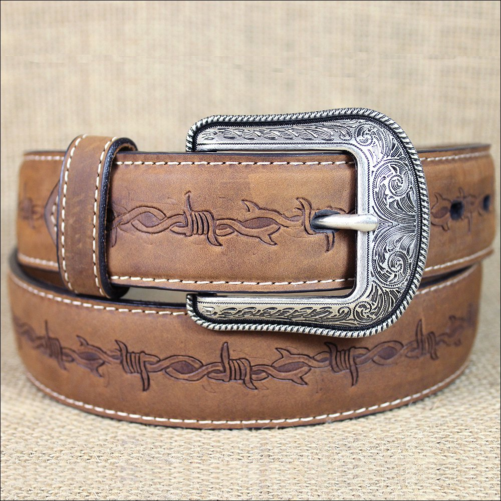 "44x1 1/2"" 3D BROWN MENS WESTERN FASHION LEATHER BELT REMOVABLE BUCKLE"