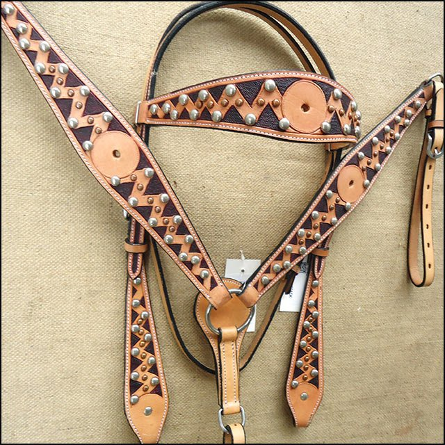 HILASON WESTERN LEATHER HORSE BRIDLE HEADSTALL BREAST COLLAR TAN BLACK SPOTS