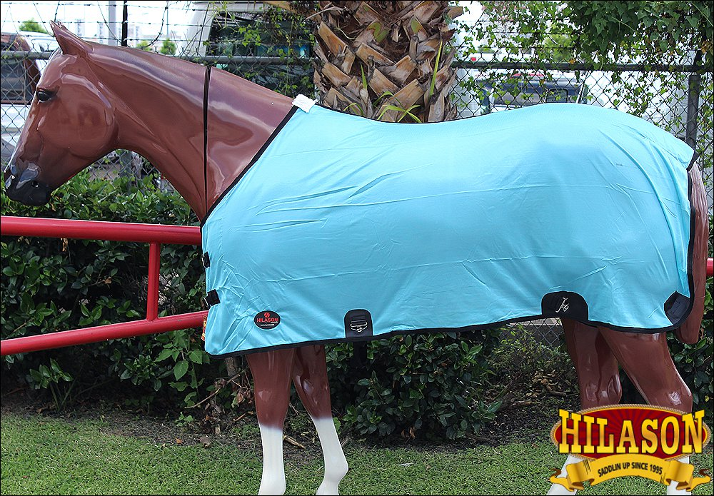 "81"" HILASON UV PROTECT AIRFLOW MESH HORSE FLY SHEET SURCINGLE TURQUOISE"