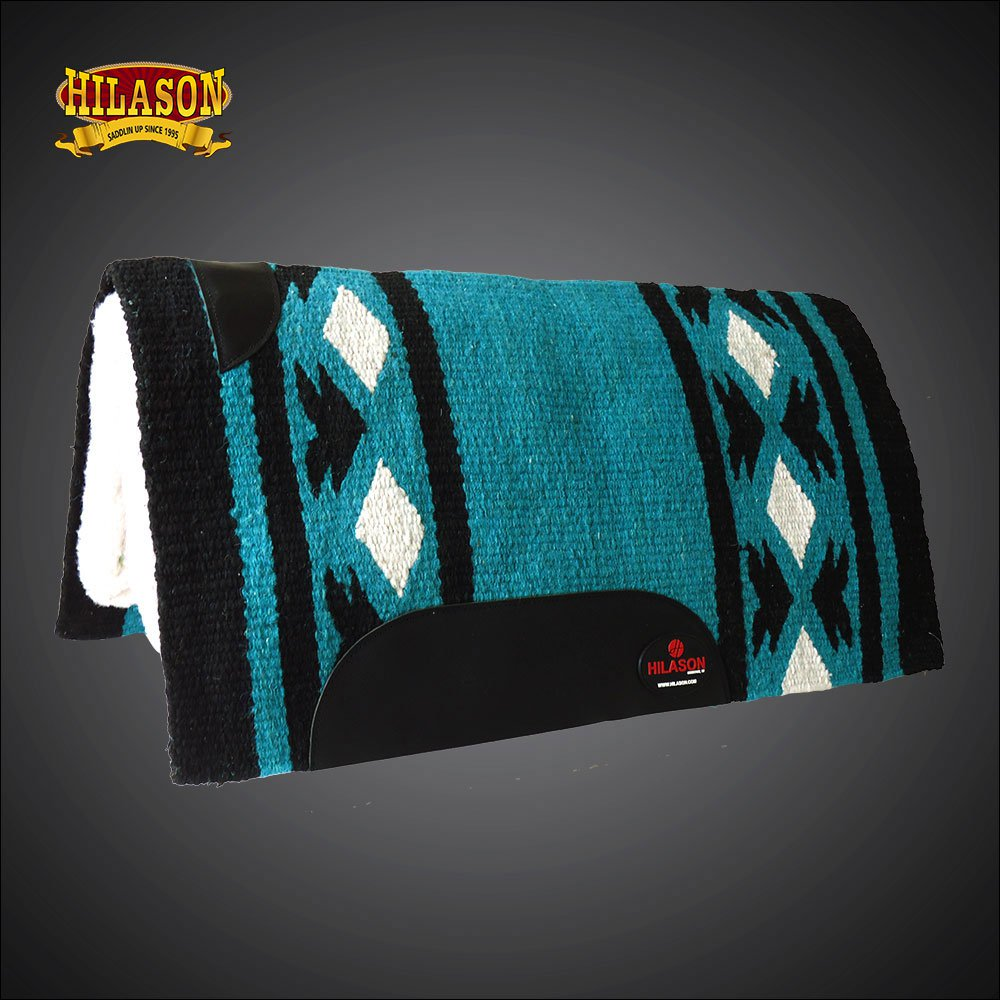 MADE IN USA FE333-F HILASON WESTERN WOOL GEL SADDLE BLANKET PAD TERQUOISE BLACK
