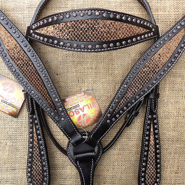 HILASON WESTERN LEATHER HORSE BRIDLE HEADSTALL BREAST COLLAR BLACK W/ GOLD INLAY