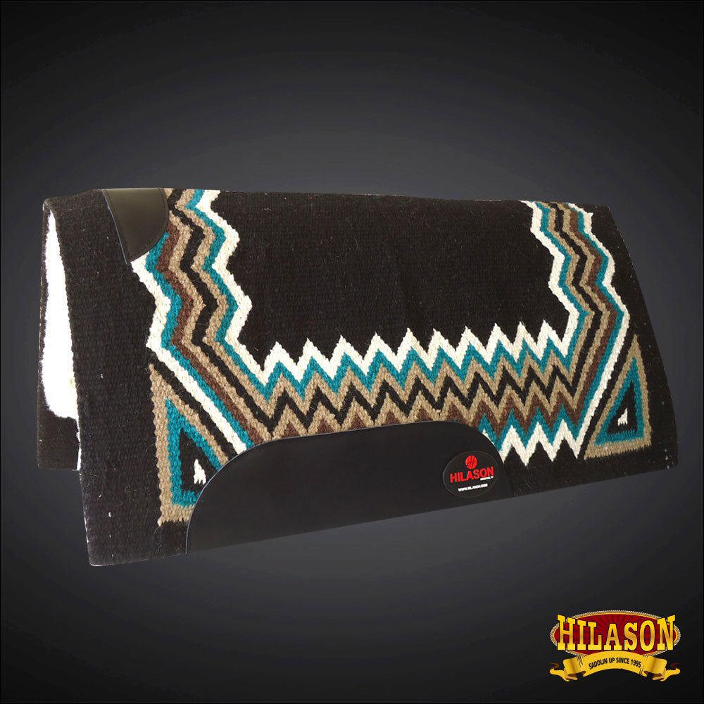 MADE IN USA F273 HILASON WESTERN SHOCK BUSTER SADDLE BLANKET PAD BLACK TURQUOISE