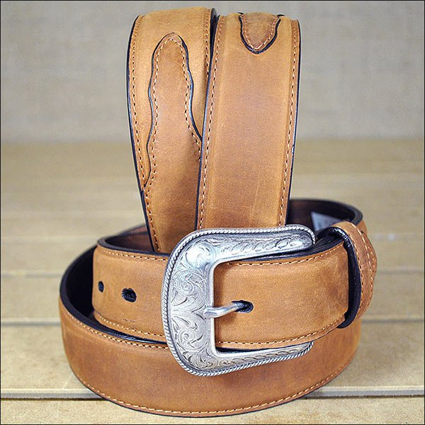 3D 44 x 1 1/2 INCH BROWN MEN'S WESTERN BASIC LEATHER BELT REMOVABLE BUCKLE