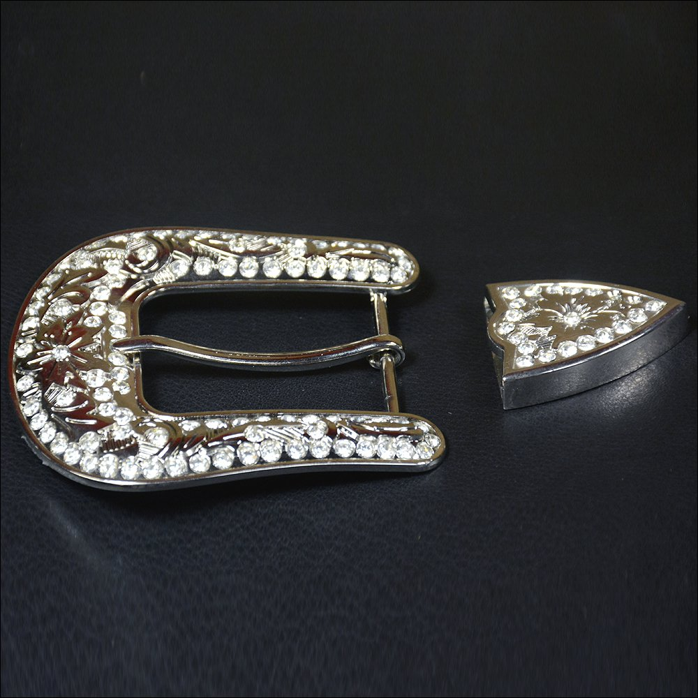 HILASON STAINLESS STEEL FINISHED BELT BUCKLE SET W/BLING CLEAR CRYSTAL