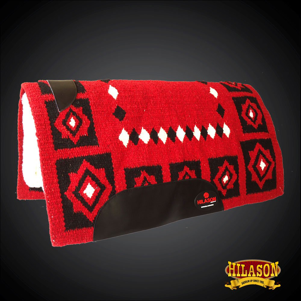 MADE IN USA FE296-F HILASON WESTERN WOOL FELT SADDLE BLANKET PAD RED BLACK WHITE
