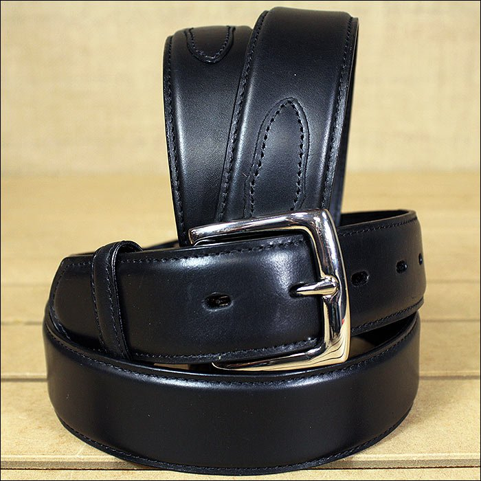 3D 46 x 1 1/2 INCH BLACK MEN'S WESTERN BASIC LEATHER BELT REMOVABLE BUCKLE
