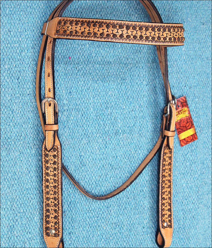 HILASON WESTERN LEATHER HORSE BRIDLE HEADSTALL TAN ANTIQUE VINTAGE FINISH