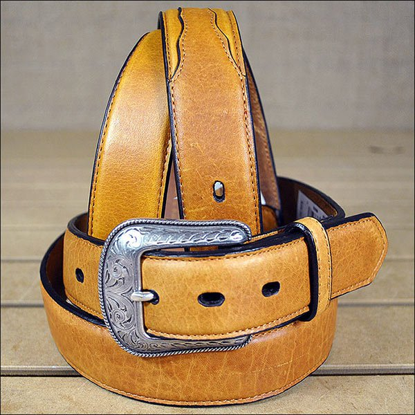 3D 34 x 1 1/2 INCH BROWN MEN'S WESTERN BASIC LEATHER BELT REMOVABLE BUCKLE