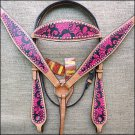 HILASON WESTERN LEATHER HORSE BRIDLE HEADSTALL BREAST COLLAR HAND PAINT MAGENTA