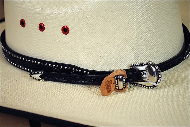 JUSTIN BLACK FLORAL EMBOSSED AND STUDDED LEATHER HATBAND W/ SILVER BUCKLE