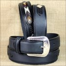 "38x1 1/2"" 3D BLACK MENS WESTERN FASHION LEATHER BELT REMOVABLE BUCKLE"