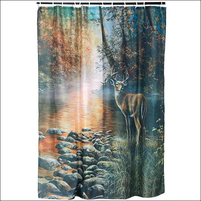 RIVERS EDGE HOME D�COR BATHROOM OUTDOOR CURTAIN WATER SHED W/ 12 RINGS
