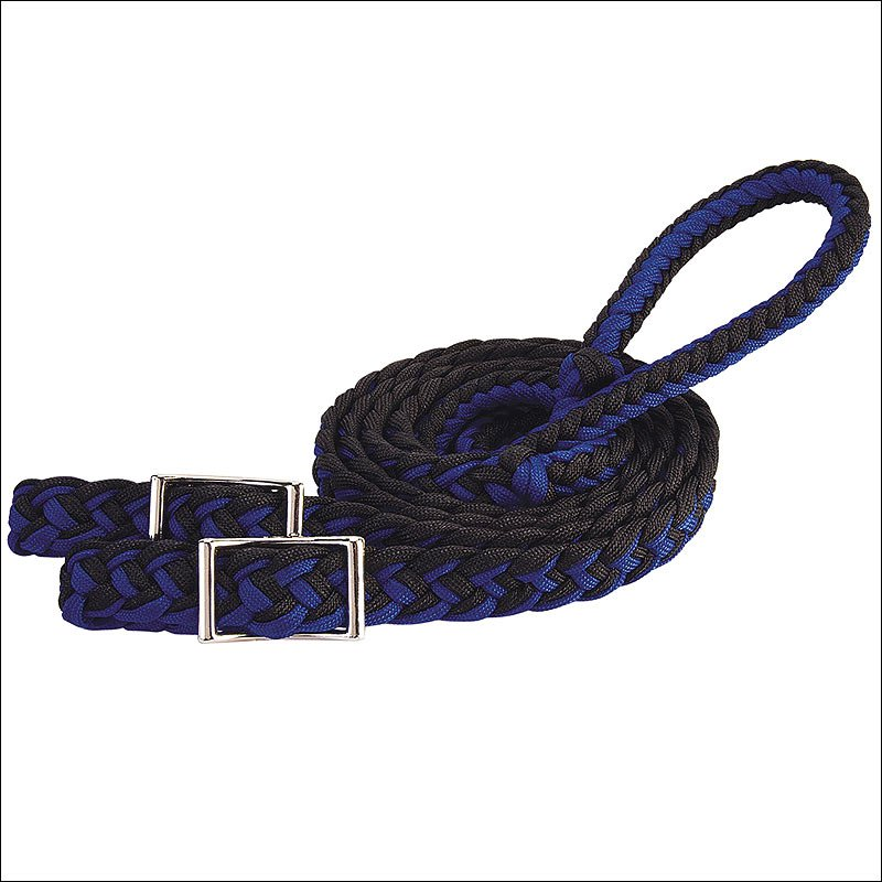 BLUE WEAVER 8 FT BRAIDED NYLON BARREL HORSE TACK REINS CONWAY BUCKLE BIT ENDS