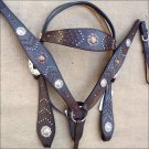 WESTERN LEATHER HORSE BRIDLE HEADSTALL BREAST COLLAR SET W/ CONCHO BROWN