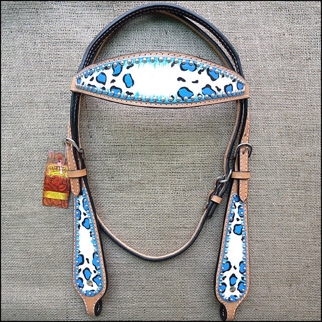 HILASON WESTERN LEATHER HORSE BRIDLE HEADSTALL HAND PAINT CHEETAH BLUE WHITE