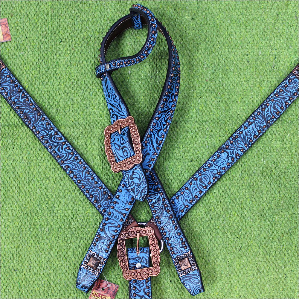HILASON WESTERN LEATHER BELT ONE EAR BRIDLE HEADSTALL BREAST COLLAR TURQUOISE