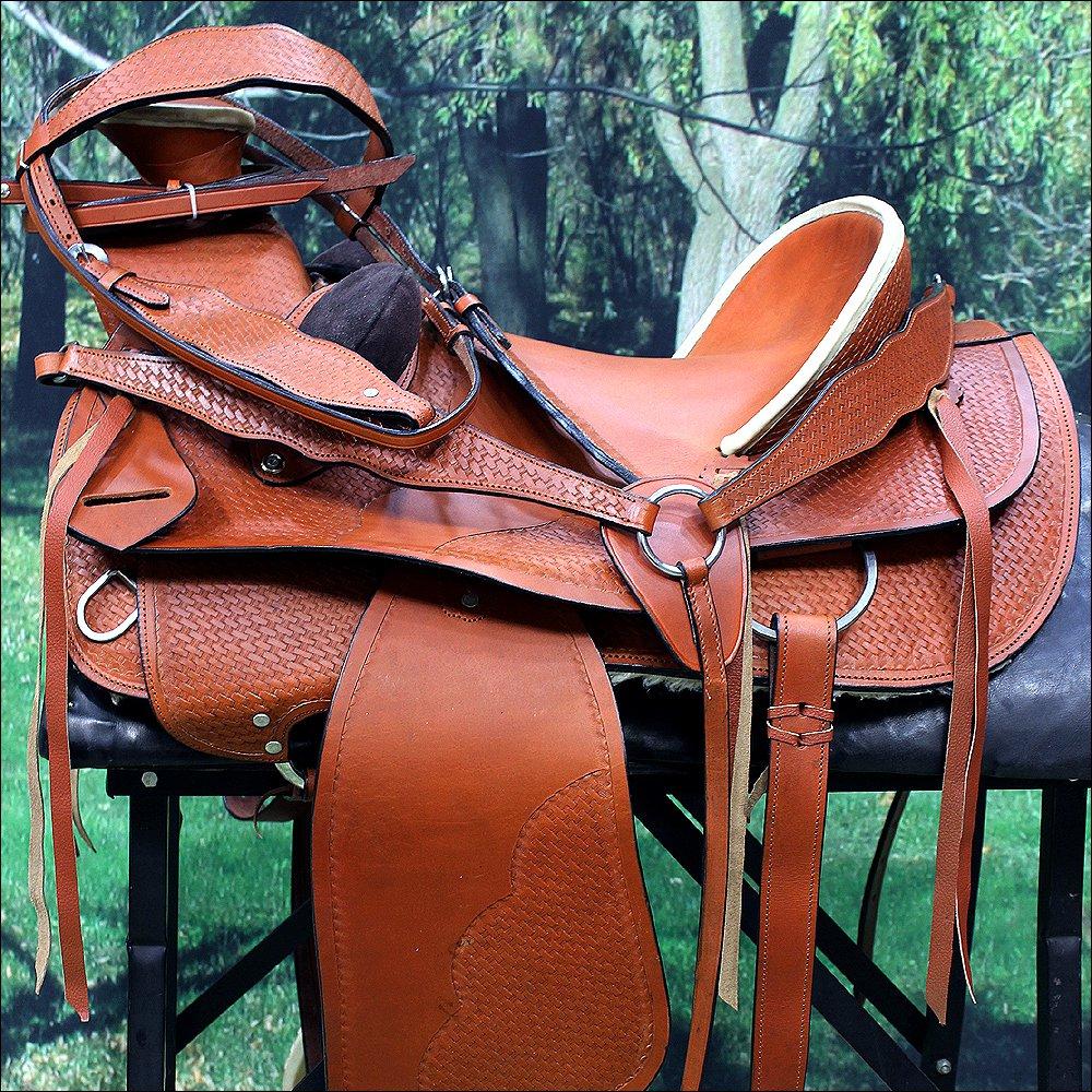 "NI-W04 WESTERN LEATHER COWBOY WADE RANCH ROPING HORSE SADDLE 16"" 17"" W/ TACK SET"