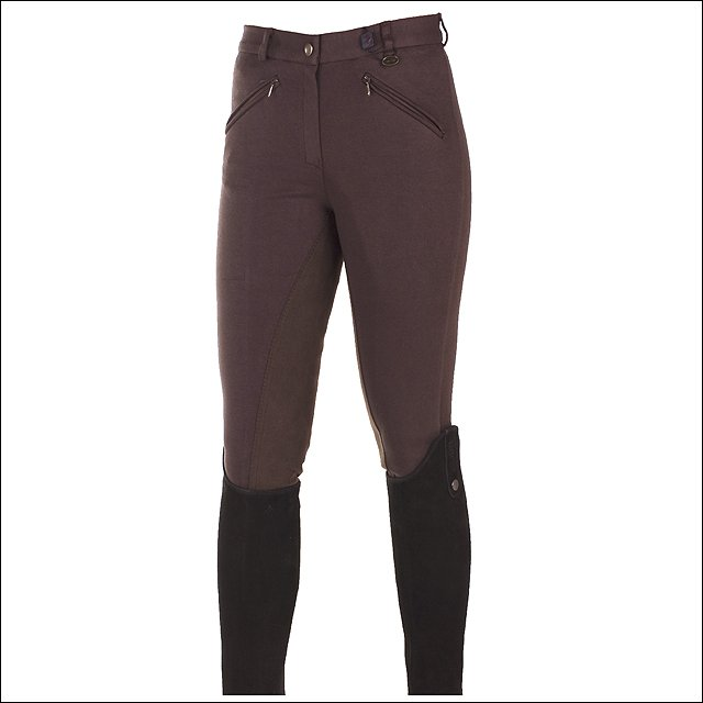 """24"""" HORZE ACTIVE WOMENS COTTON ELASTIC LEATHER FULL SEAT RIDING BREECHES BROWN"""
