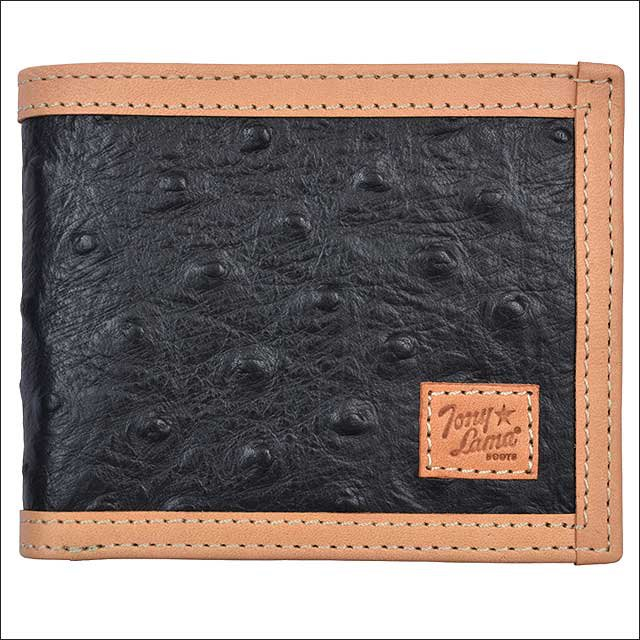 TONY LAMA BLACK OSTRICH LEATHER PRINT TRIM WESTERN BIFOLD MENS WALLET NATURAL