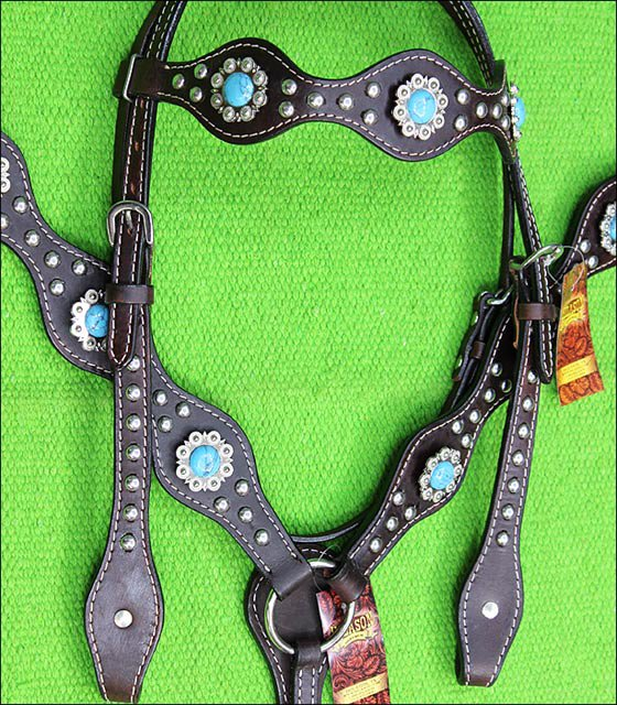 HILASON WESTERN LEATHER HORSE HEADSTALL BREAST COLLAR BROWN TURQUOISE CONCHO