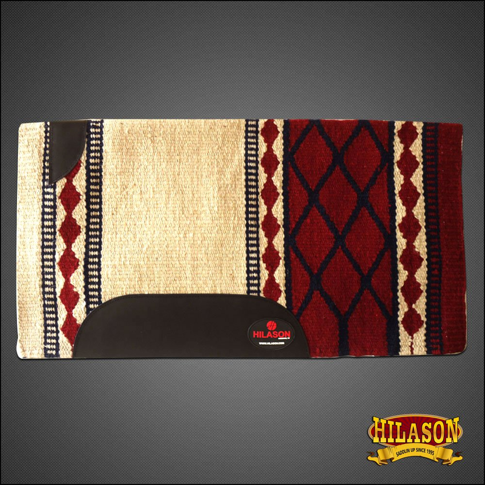 FE139-F HILASON WESTERN NEW ZEALAND WOOL HORSE SADDLE BLANKET WHITE CRIMSON
