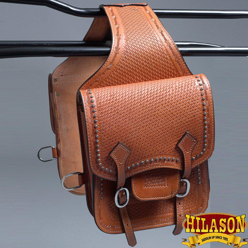 BH113-F HILASON WESTERN LEATHER COWBOY TRAIL RIDE HORSE SADDLE BAG