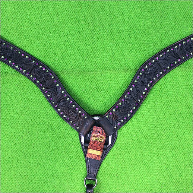 HILASON WESTERN LEATHER HORSE BREAST COLLAR BLACK RHINESTONES PURPLE GREEN