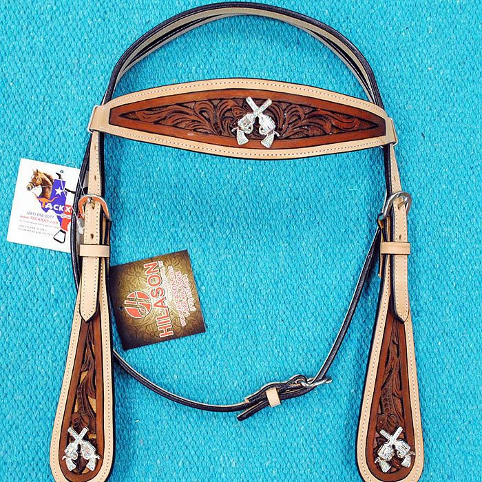 HILASON WESTERN LEATHER HORSE BRIDLE HEADSTALL TAN DARK BROWN CROSS GUN CONCHOS