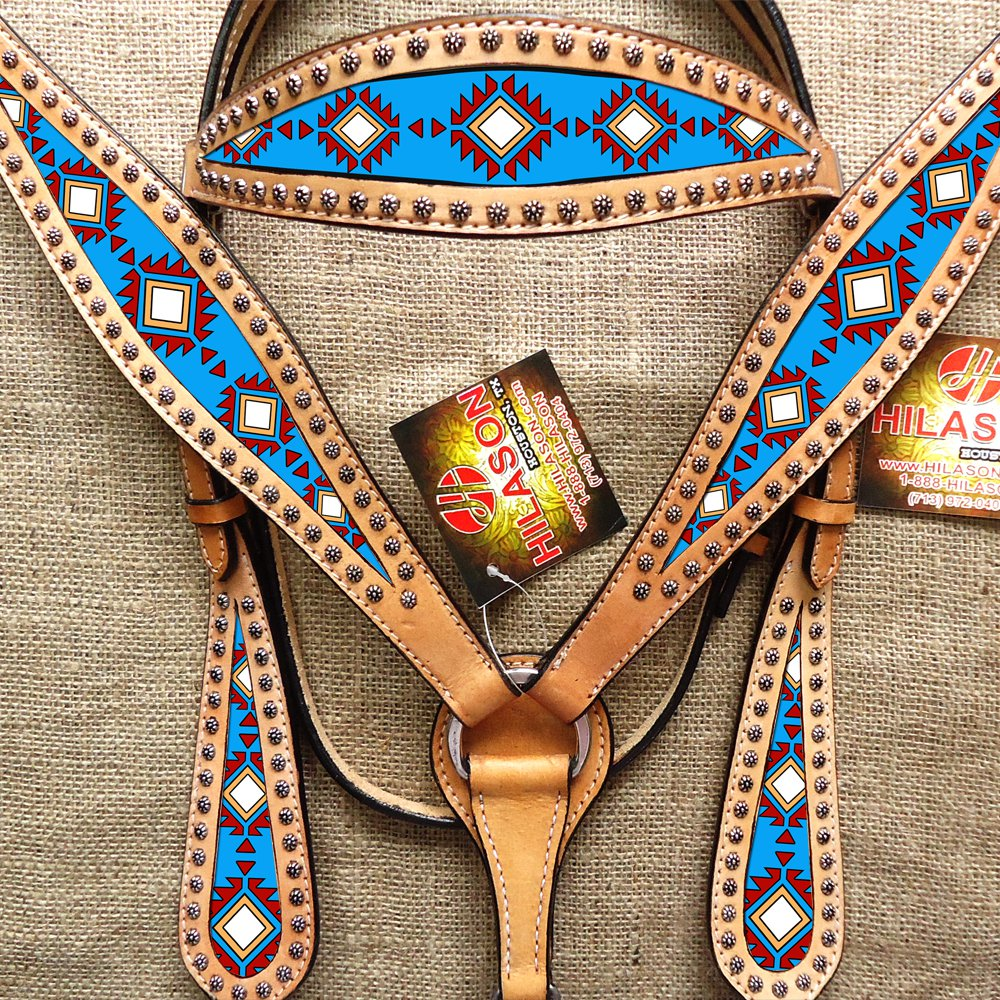 HILASON WESTERN LEATHER HEADSTALL BRIDLE BREAST COLLAR PAINTED TURQUOISE AZTEC