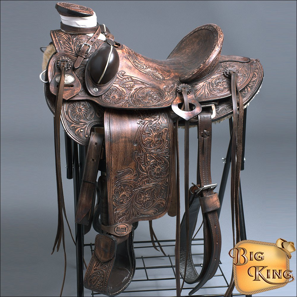 "WD013DBRO 16"" HILASON BIG KING WESTERN WADE RANCH ROPING COWBOY TRAIL SADDLE"