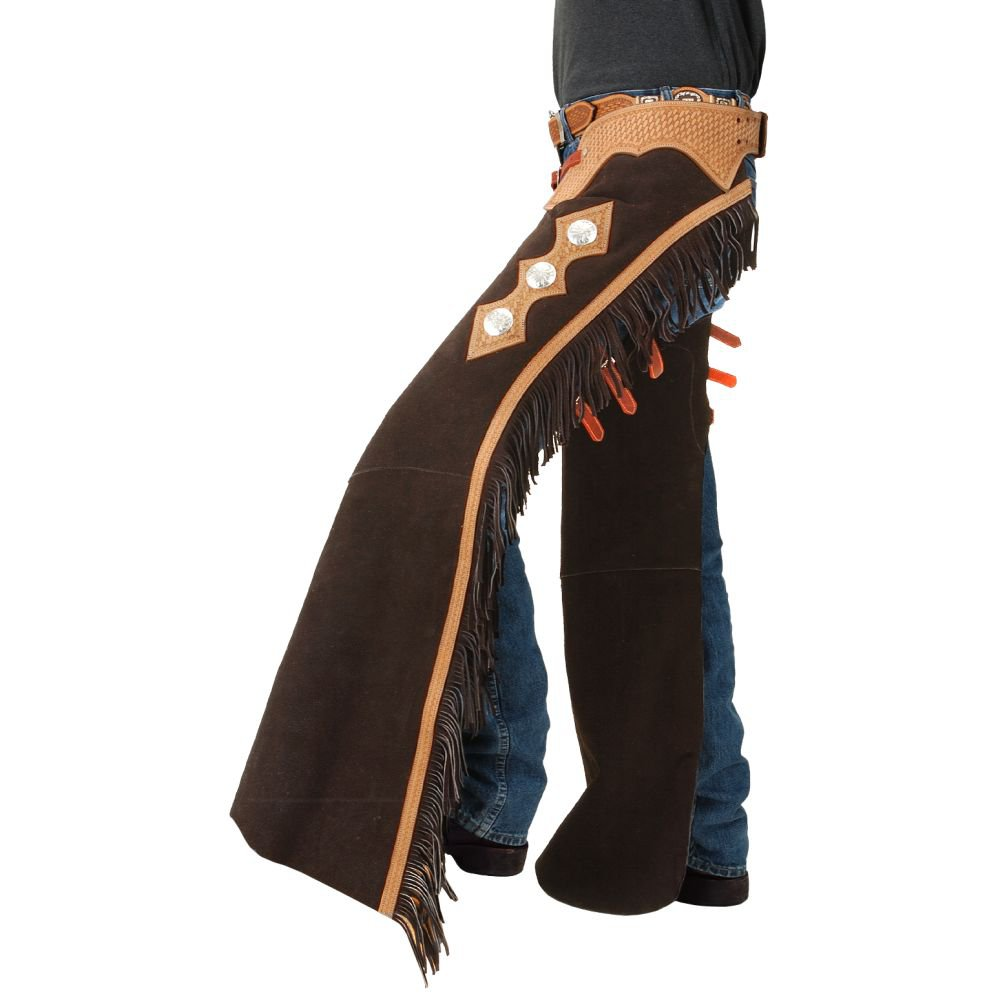 LARGE TOUGH 1 SUEDE LEATHER BASKET YOKE CUTTING SHOW CHAPS W/ FRINGE BROWN