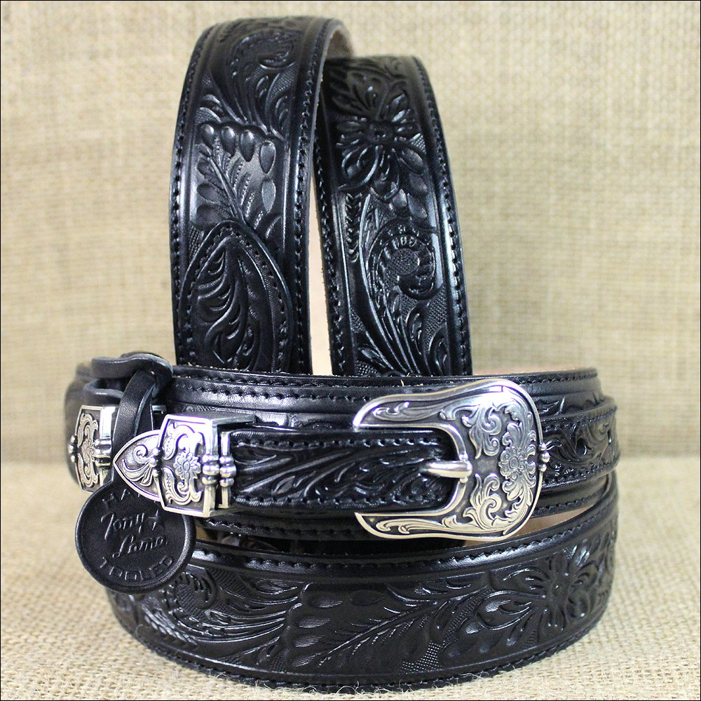 36 INCH TONY LAMA WESTERN BANDERA EMBOSSED BLACK LEATHER RANGER BELT
