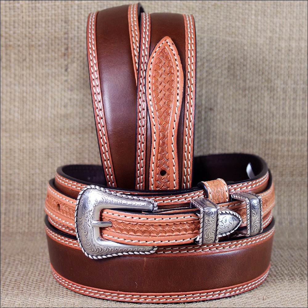 "36X1 3/8"" 3D NATURAL MENS WESTERN FASHION RANGER TAN LEATHER BELT SILVER BUCKLE"